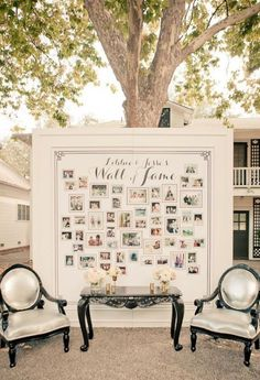 framed bulletin board of family pictures