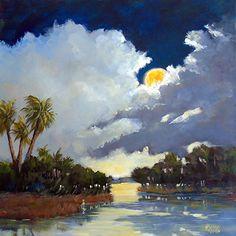 "Moon Rising by Sharon Repple Acrylic ~ 24"" x 24"""