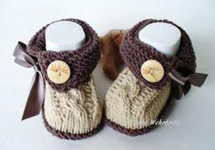 Strick- & Häkelschuhe - NovemberLaub Babyschuhe - ein Designerstück von strickliene bei DaWanda