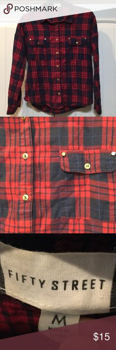 Fifty Street Red & Blue Plaid Flannel 🍁 Fifty Street Plaid flannel with gold buttons. Fifty Street Tops Button Down Shirts