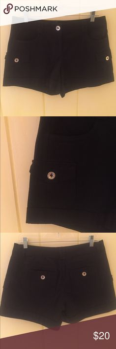 Shorts by White House Black Market Excellent used condition. Do not look like they've ever been worn. Has little pockets on the side of each leg & outside back pockets.  1-1/2 inch sewn down cuffs. MATERIALS: 97% cotton and 3% spandex. MEASUREMENTS: Waist - 34 inches, Hips - 38 inches, Leg Length - 5 inches from crotch seam. White House Black Market Shorts