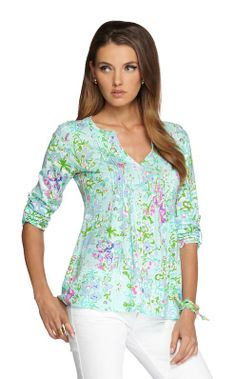 Lilly Pulitzer Braylen Tab Sleeve Top in Southern Charm