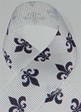 Fleur de Lis grosgrain ribbon prints are available in 7/8 width sold in 5 yard rolls. Our grosgrain prints are washable and great for hair ribbons.