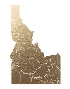 Idaho Map Foil-Stamped Wall Art by GeekInk Design   Minted