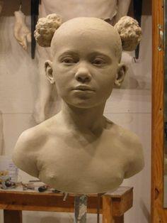 begrip: ruimtelijk portret materiaal: klei techniek: dit beeld is gemaakt door het uit een groot stuk klei te vormen met je handen of bepaalde materialen.