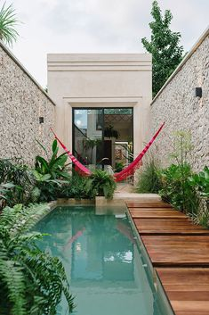 A swimming pool is probably one of the popular water features that many people like. Nowadays, a swimming pool is not only for aquatic activities but . Small Swimming Pools, Small Backyard Pools, Backyard Pool Designs, Small Pools, Swimming Pools Backyard, Swimming Pool Designs, Backyard Landscaping, Backyard Ideas, Lap Pools