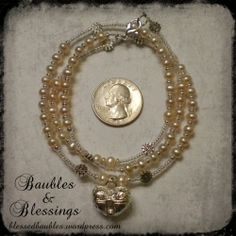 Prayer Beads for Brighid w/ Peach Pearls & Silver Spell Box Locket | Baubles-And-Blessings - Jewelry on ArtFire
