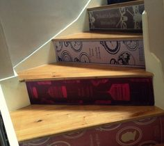 This is a fantastic set of stickers to be applied to stairs, to make it look like the books are going up the stairs.