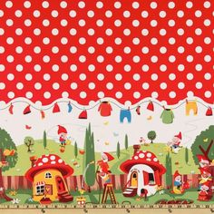 Michael Miller Gnomeville Border Red from @fabricdotcom  From Michael Miller, colors include red, blue, yellow, brown, orange, white, green and black.