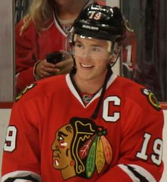 A rare smile from the Captain. Jonathan Toews