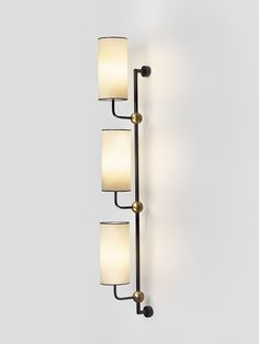 Jean Royère; Enameled Metal and Brass Wall Light, c1950.
