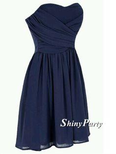 Sweetheart Neck Short Prom Dresses, Navy Blue Prom Dresses