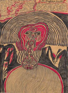 Eine Arbeit des 1979 geborenen Indonesischen Künstlers Noviadi Angkasapura, der in Jakarta lebt. Einige dieser Zeichnungen sind neben Arbeiten weiterer Künstler zu finden auf der Webseite www.aussenseiterkunst.ch und www.artbrut.li