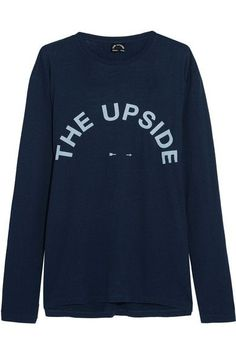 The Upside - Cutout Printed Cotton And Linen-blend Jersey Top - Navy - x small