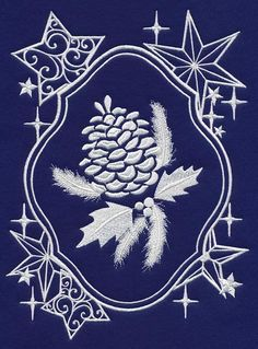 RQQ™  Set of two embroidered pine cones on navy blue  fabric quilt blocks