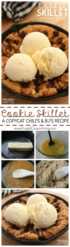 Delicious Cookie Skillet Recipe - Copycat Chili's and BJ's Cookie Recipe on Frugal Coupon Living.