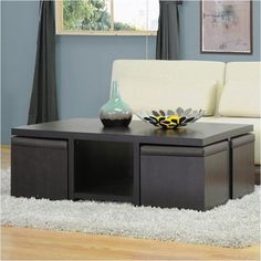 Bowery Hill Table and Stool Set with Hidden Storage in Dark Brown