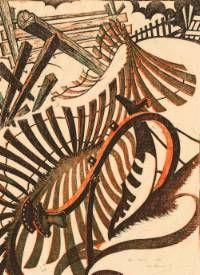 Anno Domini, 1970 Linocut by Sybil Andrews Woodcut Art, Linocut Prints, Art Prints, Block Prints, Sybil Andrews, Steampunk, Wood Engraving, Gravure, Woodblock Print