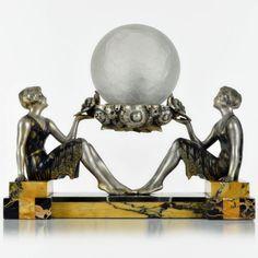Rare-1920s-French-ART-DECO-Lady-Dancer-SCULPTURE-LAMP-by-MOLINS-BALLESTE Art Deco Home, Art Deco Era, Art Deco Artists, Wood Nymphs, Art Deco Lamps, Art Nouveau, Dancer, Sculptures, 1920s