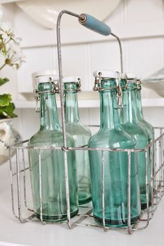Sweet Country Life ~ Simple Pleasures ~ Country Kitchen ~ Vintage green bottles