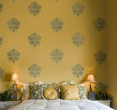 Try Damask stencils instead of pricey damask wallpaper! Our damask stencils are easy to use and very cost effective. Classic stencils, damask stencil patterns, wallpaper stencils for DIY decor. Asian Paints Wall Designs, Paint Designs, Wall Stencil Designs, Cutting Edge Stencils, Damask Stencil, Stencil Patterns, Damask Wall, Stencil Painting On Walls, Mandala Stencils
