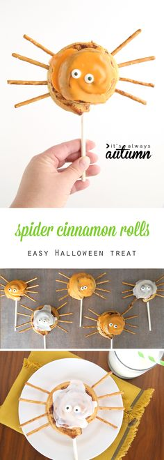 What a fun idea for a Halloween treat! Cute Halloween breakfast idea to make with the kids. Make these easy spider cinnamon roll pops for an easy Halloween breakfast idea. Fun activity to do with the kids for Halloween. Halloween Breakfast, Halloween Snacks For Kids, Easy Halloween Food, Halloween Drinks, Halloween Spider, Cute Halloween, Halloween Treats, Halloween Makeup, Halloween Costumes