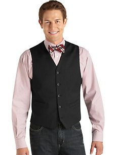 there is this one too mom, it kinda looks goofy to me with the bow tie but you get what im after. and eric said he was more than willing to wear nice slacks instead of jeans. hehehehe  Pronto Uomo Black Stripe Tailored Vest