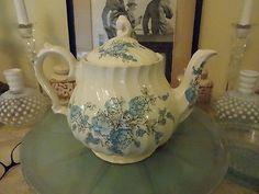 Vintage SADLER Bone China Blue English TEA POT with Floral Design and rare top