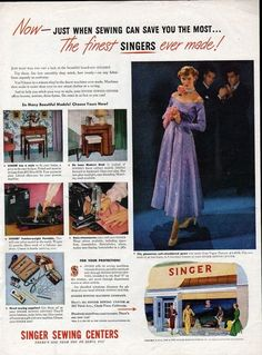 1949 Singer Sewing Machine Centers Now Just When Sewing Ad