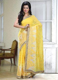 Yellow N Off White Shaded Chiffon Saree