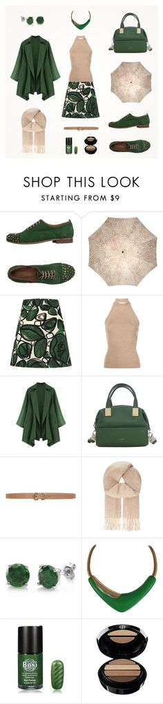 """""""Forest green & Iced coffee autumn women outfit"""" by savousepate ❤ liked on Polyvore featuring Rosetta Getty, Luana, Max Studio, Maje, BERRICLE, Monet and Giorgio Armani"""