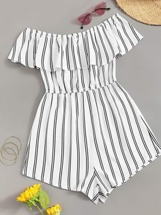 Off Shoulder Flounce Trim Striped Romper – GaGodeal Cute Comfy Outfits, Cute Casual Outfits, Swag Outfits, Cute Summer Outfits, Pretty Outfits, Stylish Outfits, Cute Summer Shirts, Casual Shirt, Girls Fashion Clothes