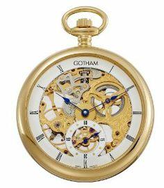 Gotham Men's Gold-Tone 17 Jewel Mechanical Skeleton Pocket Watch # GWC14069G Gotham. $199.95