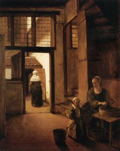 Woman Peeling Vegetables in the Back Room of a Dutch House (Pieter de Hooch - ) Louvre, Paris