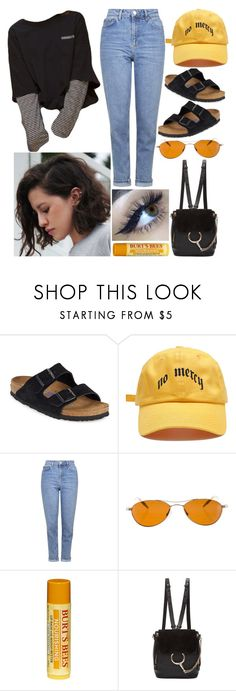 """""""""""I always like to look on the optimistic side of life, but I am realistic enough to know that life is a complex matter."""" —Walt Disney"""" by jacie ❤ liked on Polyvore featuring Birkenstock, Topshop, Oliver Peoples, Burt's Bees, Chloé, stylish, likes, polyvoreeditorial and polyvorefashion"""