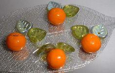 Oranges & green leaves Czech Republic glass beads fruit beads
