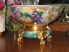 "Gorgeous ""Luscious Grapes"" Antique Limoges France Hand Painted Punch Bowl on Separate Paw Footed Base Turn-of-the-Century French Victorian Masterpiece Treasure Tressemann & Vogt T circa 1900"