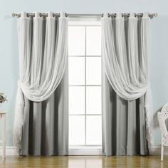 Best Home Fashion Mix & Match Tulle Sheer Lace Blackout Curtain - Set of 4 Grey, Size: 52 x 84 No Sew Curtains, Tulle Curtains, Kids Curtains, Cool Curtains, Large Window Curtains, Curtains For Bathroom Window, Shower Curtains, Drapery, Blackout Panels