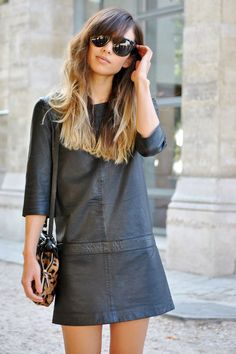 Leather dress + ombre hair =pure perfection