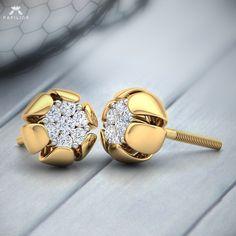Jewelry Design Earrings, Gold Earrings Designs, Ear Jewelry, Jewellery Designs, Diamond Studs, Diamond Earrings, Stud Earrings, Gold Jewelry Simple, Fancy Jewellery