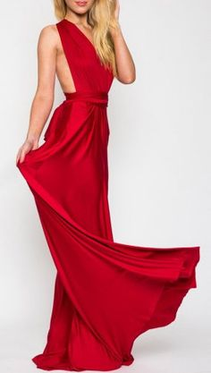 Red V-neck Back Twist Strap Detail Ruched Maxi Dress