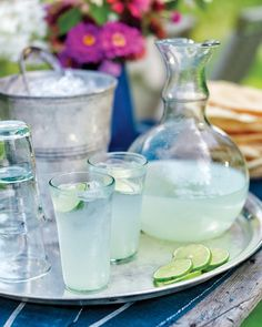 This drink is based on nimbu pani, a lemon- or limeade popular in India. A little orange-blossom water, while not necessary, gives it a delicate fragrance.Moroccan silver tray, by John Derian Co., $265, 212-677-3917 Khaled tulip glasses, $11.50 each, canvashomestore.com