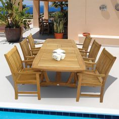 Outdoor Royal Teak 64 - 96 in. Gala Extension Compass Patio Dining Set - Seats 6 - P17WO, Durable