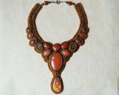 """Купить Колье и серьги """"Jaspis"""" - рыжий, Украшение ручной работы, украшение на шею, подарок девушке"""