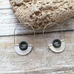 Hoop sterling silver earrings dangle and drop tribal earrings. Hematite stone. By Carla Amaro