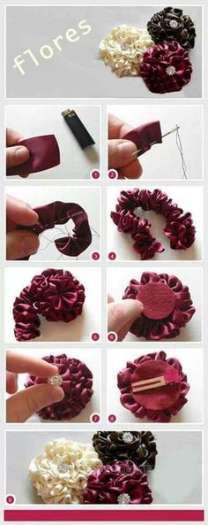 How To Make Ribbon Flower Hair AccessoriesDiscover thousands of images about DIY Tutorial DIY Ribbon Crafts / DIY Ribbon Accessories - Bead&CordThis would look amazing with Darn Good Yarn\'s Sari Ribbons store. Red, White, and Blue Hair bow perfect for ev Felt Flowers, Flowers In Hair, Fabric Flowers, Diy Ribbon Flowers, Zipper Flowers, Flower Hair Bows, Ribbon Flower Tutorial, Flower Headbands, Origami Flowers