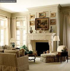 For the Living Room (and therefore also hall?) I like the way the matt wall colour goes up and over the cornice (crown). A pale grey/green?   Low-contrast scheme makes this restful.