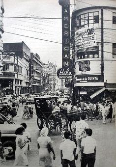 Evangelista Street corner Carriedo Street, Quiapo, Manila. Philippines Culture, Manila Philippines, Philippine Holidays, Philippine Art, Filipino Culture, Historical Landmarks, Baguio, Pinoy, Vintage Pictures