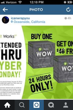 Only 3 more hours Left of It Works Cyber Monday!!! Go to http:// wrappingmscabral .myitworks .com <No Spaces>