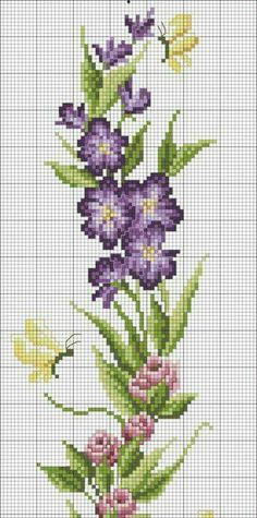 Change the butterflies to honeybees. Cross stitch purple flowers.